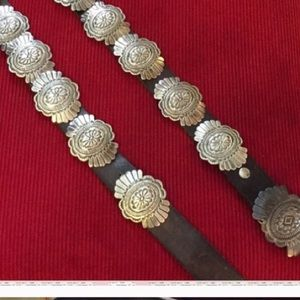 Vintage Indian Sterling Silver Concho Belt